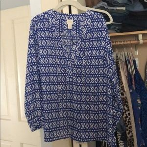 Cute Chico's Blue and White Blouse Size 2 Large